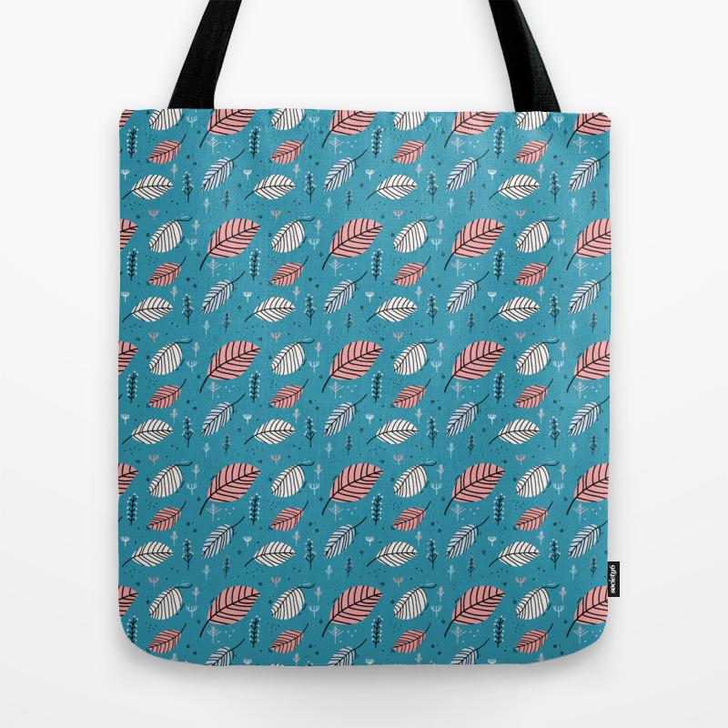 Teal Leaf Pattern Tote Bag by Ksanders013 TBG8743823