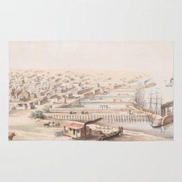Vintage Pictorial Map of Galveston TX (1855) Rug