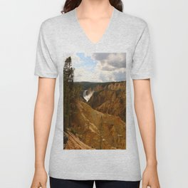 Thundering Waters Of The Yellowstone River Unisex V-Neck