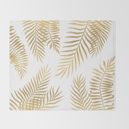 Gold palm leaves Throw Blanket
