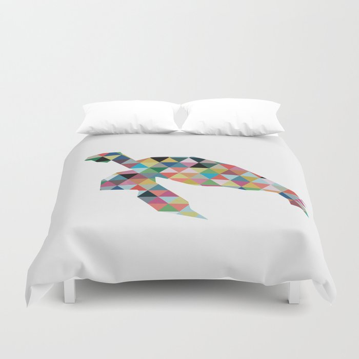 Colorful Geometric Turtle Duvet Cover