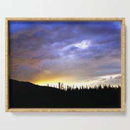 Heart of Light Above the Dark Mountain Serving Tray