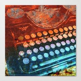 Typewriter Blue Red PopArt Canvas Print
