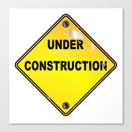 Yellow Under Construction Sign Canvas Print