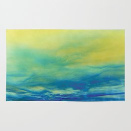 YELLOW & BLUE TOUCHING #1 #abstract #art #society6 Rug