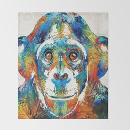 Colorful Chimp Art - Monkey Business - By Sharon Cummings Throw Blanket