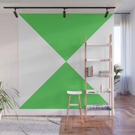 Four Triangles (White & Green Pattern) Wall Mural