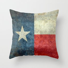 Texas State Flag, Retro Style Throw Pillow