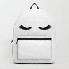 black and white eyelashes Backpack