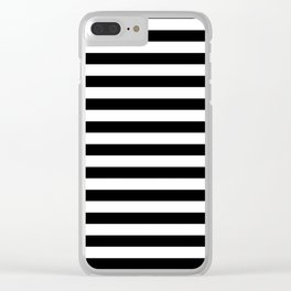Black and White Horizontal Strips Clear iPhone Case