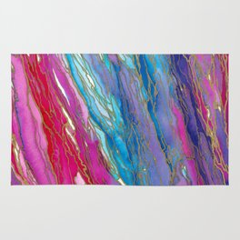 AGATE MAGIC PinkAqua Red Lavender, Marble Geode Natural Stone Inspired Watercolor Abstract Painting Rug