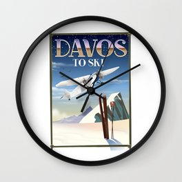 Davos ski poster Wall Clock