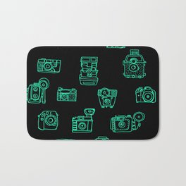 Cameras: Teal - pop art illustration Bath Mat