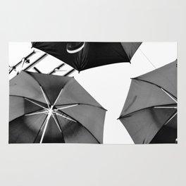 Black Umbrellas Rug