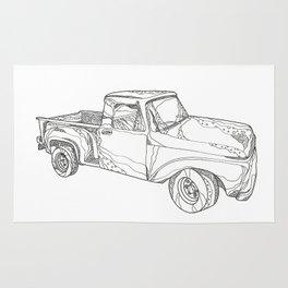 Vintage Pickup Truck Doodle Art Rug