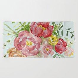 Bouquet of Spring Flowers Light Aqua Beach Towel