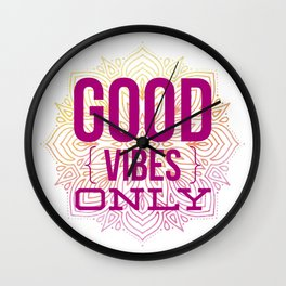 Good Vibes Only Mandala Watercolor Wall Clock