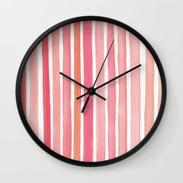 Pretty in Pink Watercolor Stripes Wall Clock