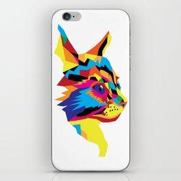 Geomtric Colourful Kitten Digitally Created iPhone Skin