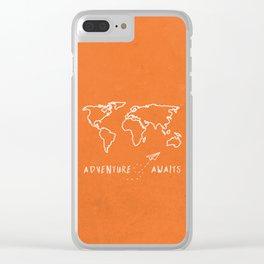 Adventure Map - Retro Orange Clear iPhone Case