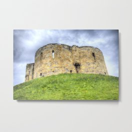 York Castle And Daffodils Metal Print