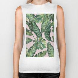 Jungle Leaves, Banana, Monstera Pink #society6 Biker Tank