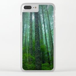 Misty Mountain Forest Clear iPhone Case