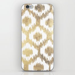 Modern white hand drawn ikat pattern faux gold  iPhone Skin