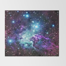 Fox Fur Nebula : Purple Teal Galaxy Throw Blanket