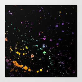 Rainbow Splatter on Black Canvas Print
