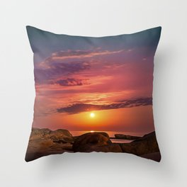 """Magical landscape with clouds and the moon going up in the sky in """"La Costa Brava, Spain"""" Throw Pillow"""
