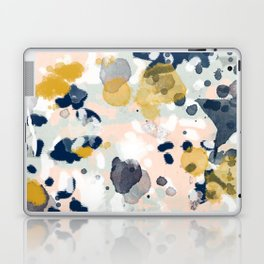 Noel - navy mint gold painted abstract brushstrokes minimal modern canvas art painting Laptop & iPad Skin