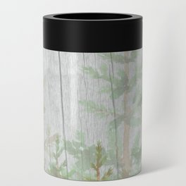 Pine forest on weathered wood Can Cooler