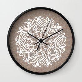 Designs by Shelley - Tan and White spirit mandala Wall Clock