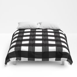 Contemporary Black & White Gingham Pattern Comforters