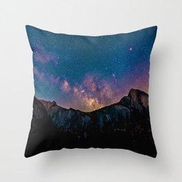 Milky Way Mountains Deep Pastel Throw Pillow
