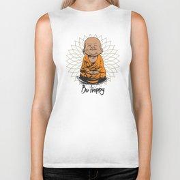 Be Happy Little Buddha Biker Tank