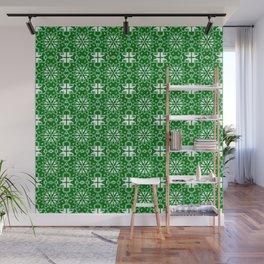Green and Whte Star Geometric Wall Mural