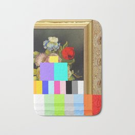 A Painting of Flowers With Color Bars Bath Mat