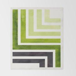 Sap Green Mid Century Modern Watercolor Colorful Ancient Aztec Art Pattern Minimalist Geometric Patt Throw Blanket