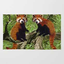 Frolicking Red Pandas Rug