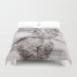 Nude woman pencil drawing Duvet Cover