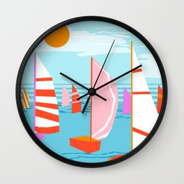 Quepasa - memphis throwback retro minimal modern neon boating yacht club sailing summer sport Wall Clock