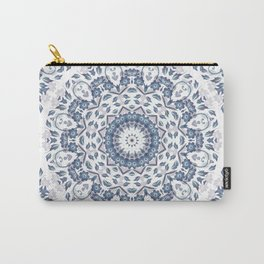 Grayish Blue White Flowers Mandala Carry-All Pouch