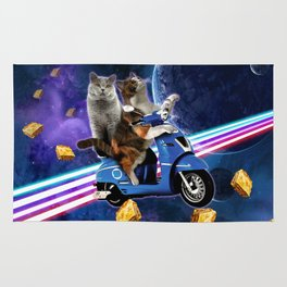 cat scooter travel with lasagne galaxy Rug