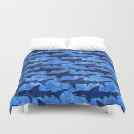 Sharks in the Blue, Blue Sea Duvet Cover