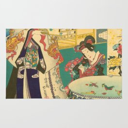 Spring Outing In A Villa Diptych #1 by Toyohara Kunichika Rug