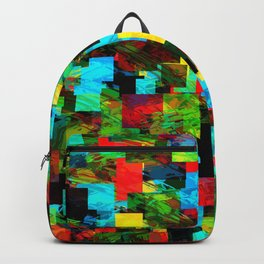psychedelic geometric square pixel pattern abstract in red blue green yellow Backpack