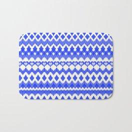 Ikat Pattern in Cobalt Blue & White Bath Mat
