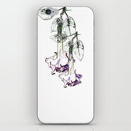 Illustrated Moonflower in Purple and Green iPhone Skin